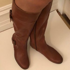 Nine West brown riding leather boots 9 wide